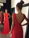 Show details for Elegant Red Sleeveless A-Line Floor-Length V-Back Prom Dress With Lace