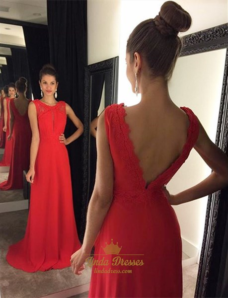 Elegant Red Sleeveless A-Line Floor-Length V-Back Prom Dress With Lace