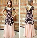 Short-Sleeve Lace Embellished Chiffon V-Back Floor-Length Evening Gown