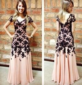 Short-Sleeve Lace Embellished Chiffon V-Back Floor-Length Evening Gown
