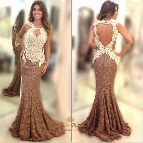 Elegant Floor-Length Sleeveless Lace Mermaid Prom Dress With Keyhole