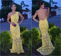 Yellow One Shoulder Lace Overlay Long Evening Dress With Sheer Back