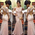 Show details for Illusion Light Pink Long Sleeve Lace Bodice Drop Waist Evening Dress