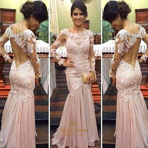 Illusion Light Pink Long Sleeve Lace Bodice Drop Waist Evening Dress
