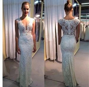 White Deep V-Neck Cap Sleeve Lace Sheath Floor-Length Evening Dress