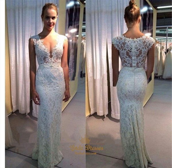White Deep V-Neck Cap Sleeve Lace Sheath Floor-Length Evening Dress