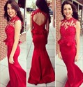 Red Sleeveless Peplum Long Mermaid Formal Dress With Illusion Bodice