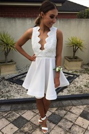 Lovely White Backless Short A-Line Homecoming Dress With Lace Bodice
