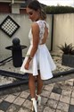Show details for Lovely White Backless Short A-Line Homecoming Dress With Lace Bodice