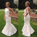 Show details for Sleeveless Ruched Bodice Beaded Waist Lace Mermaid Long Formal Dress