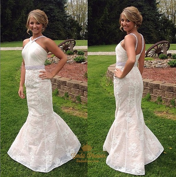 Sleeveless Ruched Bodice Beaded Waist Lace Mermaid Long Formal Dress