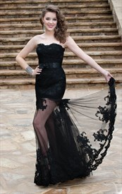 Black Strapless Sleeveless Lace & Tulle Floor-Length Evening Dress