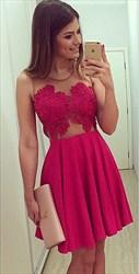 A-Line Sleeveless Sheer Neckline Lace Chiffon Short Homecoming Dress