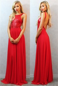 Open Back Red Sleeveless Sequin Bodice A-Line Chiffon Long Prom Dress