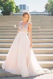 V-Neck Sleeveless Sequin Bodice Backless Chiffon A-Line Evening Dress