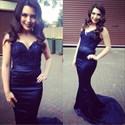 Navy Blue Sleeveless Floor Length Mermaid Prom Dress With Lace Bodice