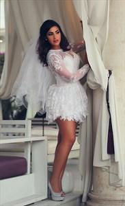 Illusion White Embellished Lace Short Wedding Dress With Long Sleeves