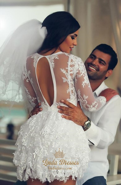 Illusion White Embellished Lace Short Wedding Dress With Long Sleeves