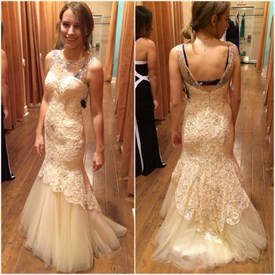 Sleeveless Lace Tulle Mermaid Wedding Gown With Sheer Beaded Neckline