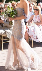 Off-The-Shoulder Lace Applique Sleeveless Sheath Long Bridesmaid Dress