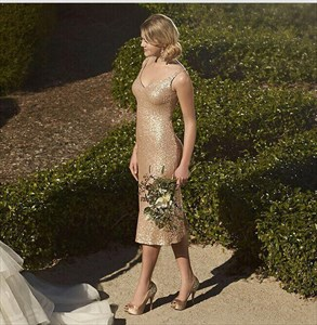 Champagne Sequin V-Neck Sleeveless Tea Length Sheath Bridesmaid Dress