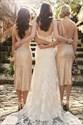 Show details for Champagne Sequin V-Neck Sleeveless Tea Length Sheath Bridesmaid Dress
