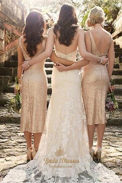 Champagne Sequin V-Neck Sleeveless Tea Length Sheath Bridesmaid Dress