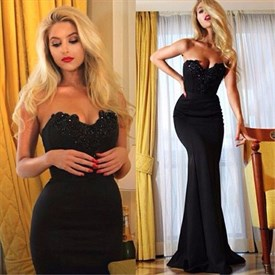 Black Strapless Beaded Sweetheart Mermaid Floor-Length Evening Dress
