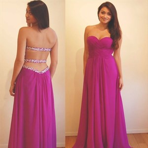 Strapless Ruched Bodice Beaded Chiffon A-Line Prom Dress With Cutouts