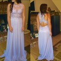 Show details for Lilac Sleeveless Chiffon A-Line Long Prom Dress With Illusion Bodice
