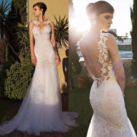 Illusion White Sleeveless Backless Lace & Tulle Mermaid Wedding Dress