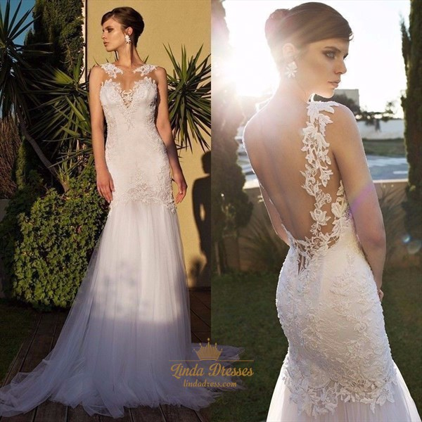 Show details for Illusion White Sleeveless Backless Lace & Tulle Mermaid Wedding Dress