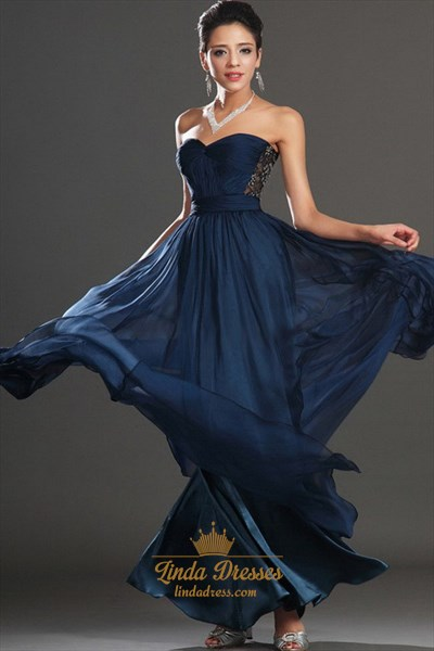 Navy Blue Strapless Embellished A-Line Chiffon Floor-Length Prom Dress