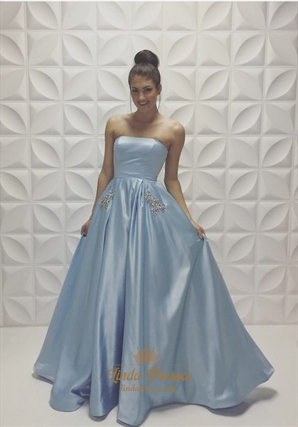 Light Blue Strapless Beaded Satin A-Line Long Prom Dress With Pockets