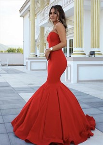 Red Elegant Simple Strapless Sweetheart Mermaid Ball Gown Prom Dress