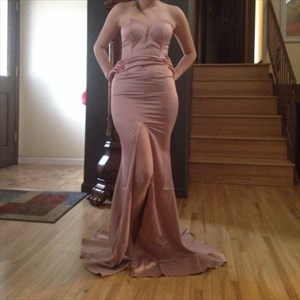 Simple Strapless Sweetheart Floor Length Evening Gown With Front Slit