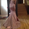 Show details for Simple Strapless Sweetheart Floor Length Evening Gown With Front Slit
