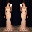 Show details for Blush Pink High-Neck Floor-Length Lace Sleeveless Mermaid Evening Gown