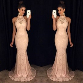 Blush Pink High-Neck Floor-Length Lace Sleeveless Mermaid Evening Gown