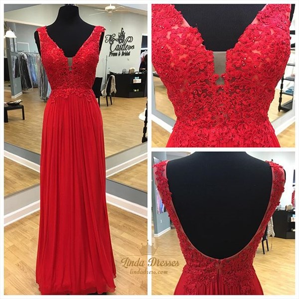 Red Sleeveless V-Neck Floor-Length Chiffon Prom Dress With Open Back