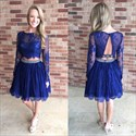 Show details for Illusion Royal Blue Two-Piece Lace A-Line Long Sleeve Homecoming Dress