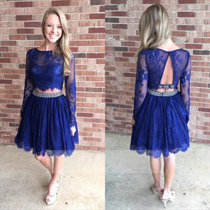 Illusion Royal Blue Two-Piece Lace A-Line Long Sleeve Homecoming Dress