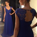 Show details for Royal Blue Sweetheart Cap-Sleeve Lace Top Chiffon A-Line Prom Dress