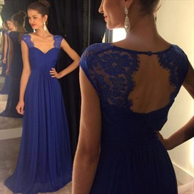 Royal Blue Sweetheart Cap-Sleeve Lace Top Chiffon A-Line Prom Dress
