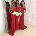 Show details for Elegant Off-The-Shoulder Mermaid Embellished Chiffon Bridesmaid Dress