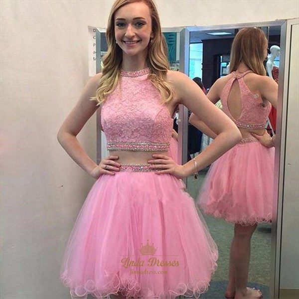 A-Line Two Piece Sleeveless Lace Bodice Tulle Skirt Homecoming Dress
