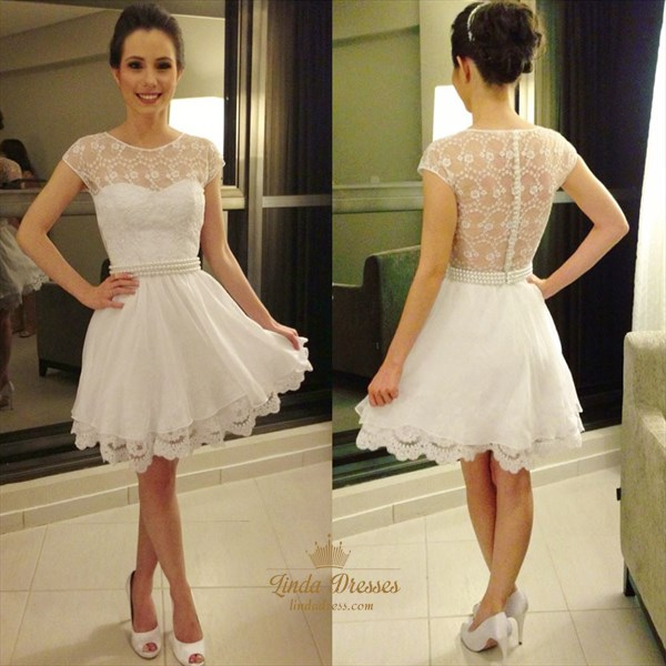 White Cap Sleeve Beaded Waist Chiffon Overlay Lace Homecoming Dress