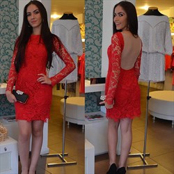 Red Long Sleeve Lace Knee Length Sheath Cocktail Dress With Sheer Back