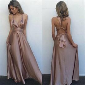 Floor Length Sleeveless A-Line Empire Waist Cross Back Evening Dress