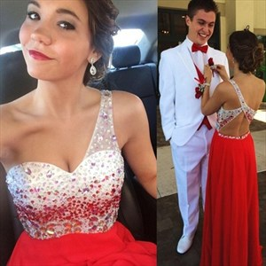 Red One Shoulder A-Line Beaded Bodice Chiffon Long Bridesmaid Dress